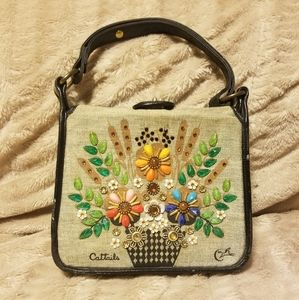 "VINTAGE Collins of Texas Canvas Bag ""Cattails"""